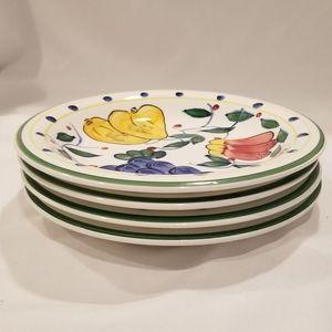 Set of 4 Gibson Mediterranean Garden salad plates